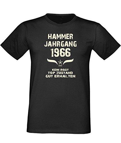 Humorvolles Happy-Birthday Fun-t-shirt Geschenk für den liebsten Menschen mit Sprüche-Motiv: zum 50. Geburtstag Hammer Jahrgang 1966 Farbe: schwarz Schwarz