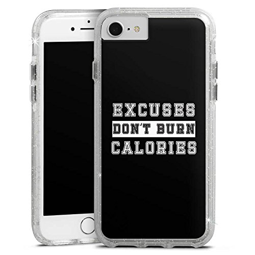 Apple iPhone 8 Bumper Hülle Bumper Case Glitzer Hülle Sayings Sprüche Phrases Bumper Case Glitzer silber