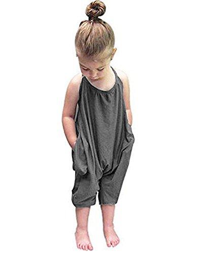 Kidsform Kinder Baby Jumpsuit Mädchen Overalls Stück Hosen Rompers Jumpsuits Mädchen Sommerkleidung Grau 4-5Y