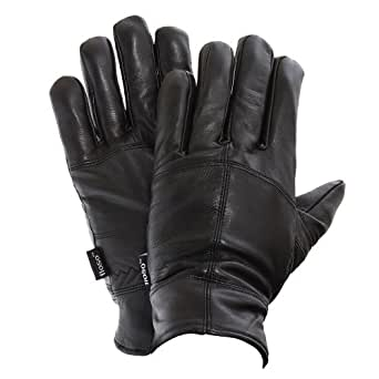 FLOSO® Mens Thinsulate Lined Genuine Leather Gloves (3M 40g) (M/L) (Black)
