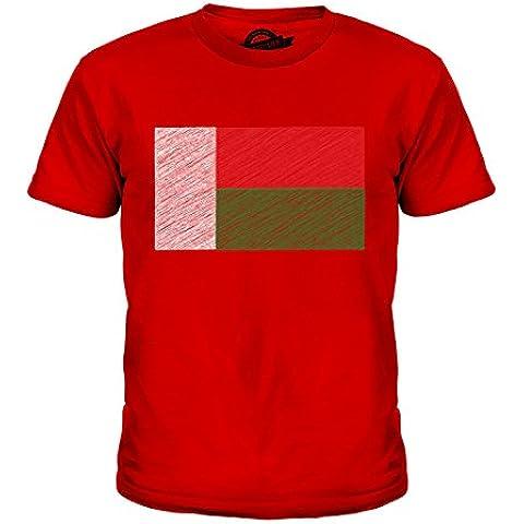 CandyMix Madagascar Bandiera Scarabocchio Unisex Bambino Ragazzi/Ragazze T-Shirt