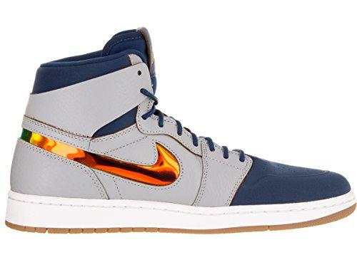 Nike Air Jordan 1 Retro High Nouv, Chaussures de Sport Homme, Blanc, Taille Gris / bleu / blanc (gris loup / feuille dor (gold leaf) - bleu France - blanc)