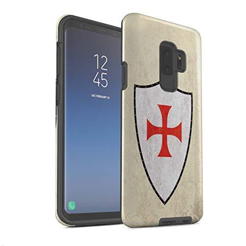 Stoßfest Hülle/Case für Samsung Galaxy S9 Plus/G965 / Ritter Templer Kreuz Muster/Fantasie Mittelalterlich Schild Kunst Kollektion ()