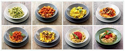 Wallario Glasbild Italienische Pasta - 32 x 80 cm in Premium-Qualität: Brillante Farben, freischwebende Optik