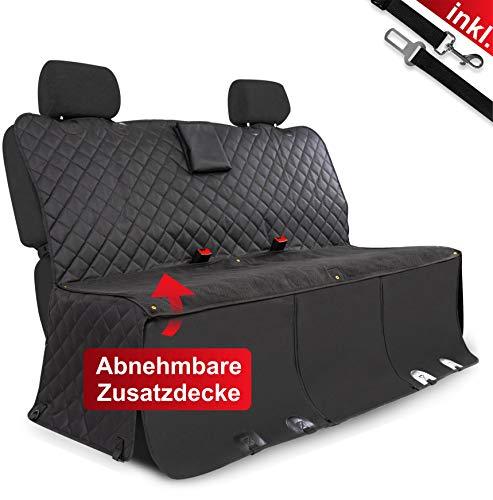 WhizProducts Hundedecke für Auto Rückbank (mit Abnehmbarer Wolldecke, Tasche und Gurtleine) - Autoschondecke wasserabweisend & rutschfest mit Seitenschutz - ideal auch als Kofferraumdecke