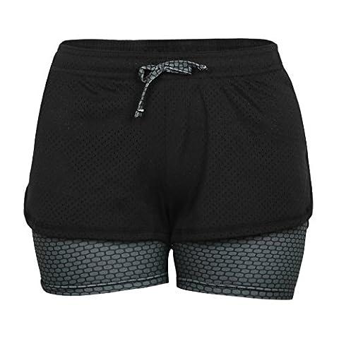 Eizur 2 in 1 Damen Shorts Kurze Hosen Sport Shorts Yoga Fitness Running Hot pants Yogahose Sporthose Trainingshose Jogginhose Pants Stretch Short Size M-Grau