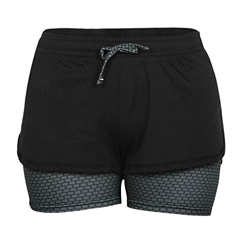 Eizur 2 in 1 Damen Shorts Kurze Hosen Sport Shorts Yoga Fitness Running Hot pants Yogahose Sporthose Trainingshose Jogginhose Pants Stretch Short Size S-Grau (Kurze Flanell Ärmel)