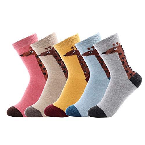 Bakicey Damen Mädchen Socken Stricken Socken Strümpfe Baumwolle Nette Cartoon Gemustert Mädchensocken - Elastisch Sport Socken Füßlinge Kurzsocken Damensocken, 5 Paar. (Lässige Giraffe)