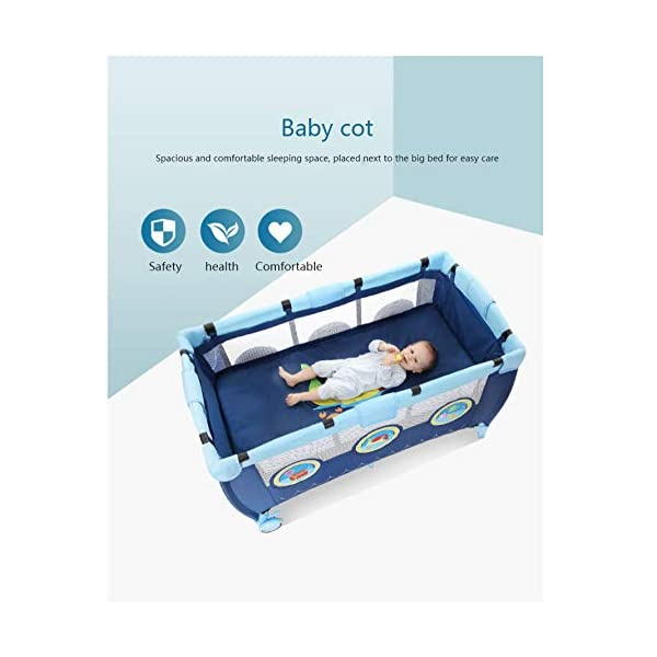 Folding Bassinet, Compact, Portable And Secure Baby Bed, Suitable For 0-4 Years Old / 125 * 66 * 77cm,OceanSeries YXLONG ♔The steel tube frame, 210D polyester, provides a solid and stable structure for your child's safe sleep. Padded top rail for added safety when used. A folding pad base is also included. The fabric can be easily wiped clean and kept dry. ♔This fence has a changer that is more functional than a similar fence. The mother no longer feels tired when changing the baby diaper. The changer is easy to clean so you don't have to worry about hygiene. ♔The versatile travel cot features large picture windows and a functional exit cabin. Your child can crawl through the hatch and climb out of the crib. 4