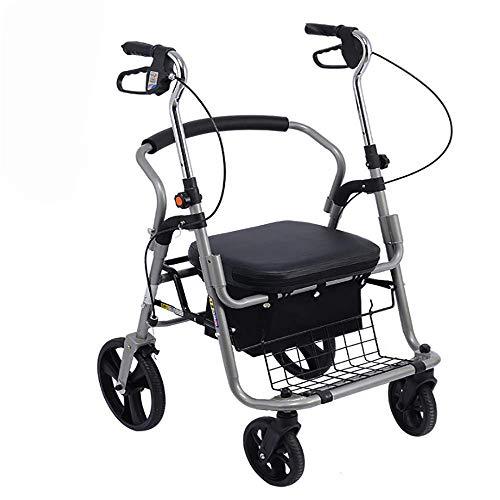 HYYQG rollator faltbar und leicht Outdoor, Leichtgewicht Gehhilfe 4-Rad mit Sitz, Aluminium Gehwagen Höhenverstellbar Deluxe Einkaufstrolly für Senioren, Black