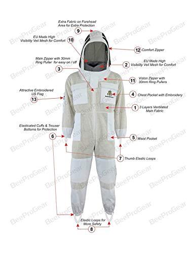 Bee Suit SFV 3X Layers Sicherheit, Unisex White Fabric Mesh Imkeranzug, Imkeranzug Bee Veil Imker Outfit Imker Hut Fencing Veil (XL)