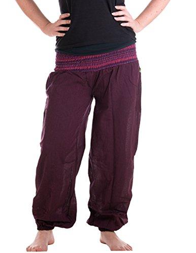 Hippie Mann Liebe Kostüm - Vishes - Alternative Bekleidung - Sommer Chino Haremshose aus Baumwolle mit super elastischem Bund - handgewebt Pflaume Einheitsgröße 32 bis 42