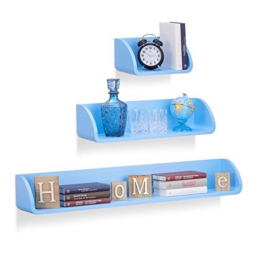 Relaxdays 10021904_45 set 3 mensole da parete, design moderno, profondità 17 cm, per libri, dvd e decorazioni, blu