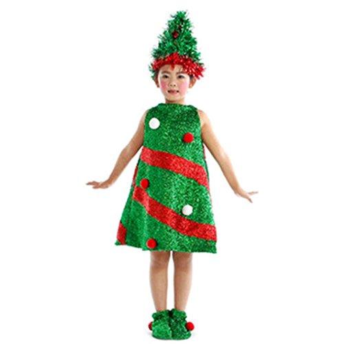 Mädchen Kleider Prinzessin Kostüm Kleid Longra Kinder Weihnachten Weihnachtsbaum Tanz Kostüm Cosplay Hochzeit Karneval Party Kleid Festzug (Green, 135-145CM Size:10-11T) (Knit Stretch-spitze T)