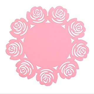 Nunubee Non-slip Silicone Coasters Flower Place Mat Dining Table Mats(Pink,S)