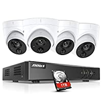 ANNKE 3MP 8CH CCTV Camera System with PIR Detection, Home Security 5-in-1 H.265+ DVR Kits and 4X 1080P HD IP67 Weatherproof Dome Cameras, White Light Alarm, Email Alert with Snapshots, 1TB Hard Drive