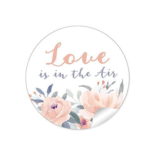 24 STICKER Hochzeit LOVE IS IN THE AIR • BLÜTEN ROSEN BLAU APRICOT GRAU • Gastgeschenke Seifenblasen Verpackungen zur Hochzeit Tischdeko Selbstgemachtes u.v.m.• 4cm rund matt