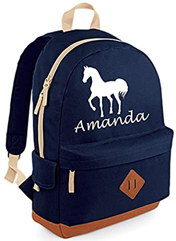 PERSONALISED Horse Design with namE' Navy Heritage Backpack (PLEASE GO