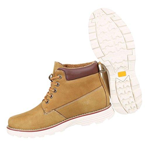 Herren Boots Schuhe Leder Schnürschuhe Stifeletten Beige Beige Braun 40 41 42 43 44 45 Camel