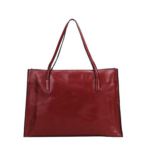 PACK Leder Handtaschen Mode Casual Schultertasche Einkaufstasche Mama Tasche Koreanische Version Big Bag,E:Beige(vertical) H:WineRed(crossSection)