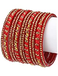 Afast Designer Colorful Collection Red & Golden 12 Fashion Bangle Set Ornamented With Exclusive Beads-GA1