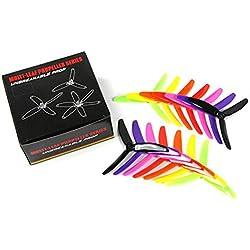 7 pares Kingkong/LDARC 5X4X3 5040 5 pulgadas 3-Blade Rainbow Colorful Hélice CW CCW para RC Drone FPV Racing Repuestos