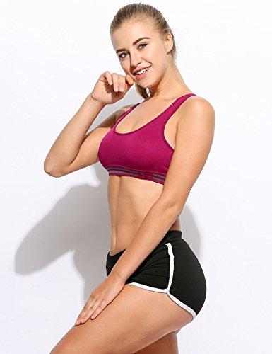 cooshional Femme Brassière Débardeur Musculation Sans Armature Amovible Maintien Unis Exercices Fitness Soutiens-gorge de sport Violet