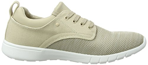 New Look Knitted Contrast Runner, Baskets Homme Ivoire (Stone)