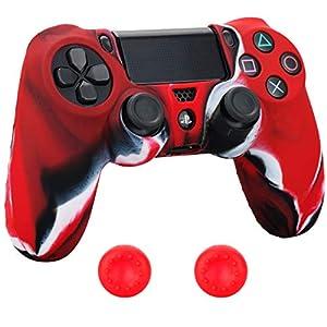 Pandaren® Silikon hülle skin Schutzhülle für PS4 controller (rot schwarz weiß) x 1 + thumb grip aufsätze x 2