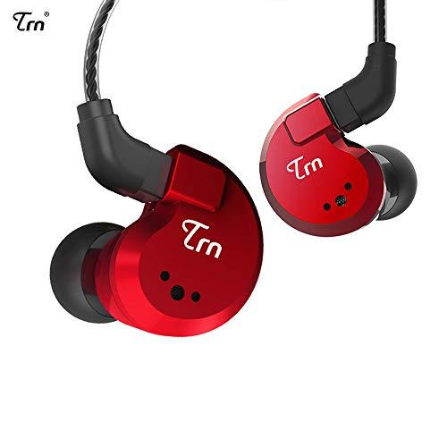 TRN V80 HiFi Kopfhörer 2 Dynamic & 2 Balanced Armature Driver Stereo Bass IEM, Kopfhörer aus Metall, Bühne / Studio im Ohrmonitor mit abnehmbarem 2-poligem Kabel (rot, ohne Mikrofon)