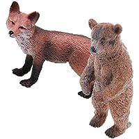 04967b56be2 Homyl 2 Pcs Modello Simulazione Rosso Volpe e Orso Animali Selvatici Figure  Ornamento Casa Scrivania Plastica