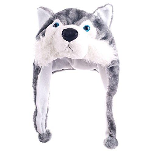 foopp Kunstfell Animal Hat Cartoon Sibirischer Cute husky Cap Plüsch flauschig Kinder Geschenk ()