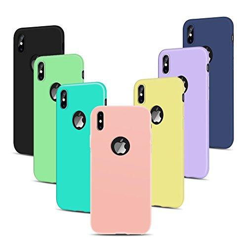 7 * Cover iPhone X iPhone Custodia TPU Handy Moda Elegante Case Soft Silicone Back Cover Protezione Bumper Funzione Shell Morbida Flessible Spiritsun Cover Per iPhone X (5.8 Pollici) Phone Custodia -  7 Color