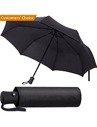 Paraguas Plegable Automático - Paraguas negro Compacto, Resistencia Contra Viento - Paraguas Impermeable para Viaje Con Apertura Automático para Hombres y Mujeres