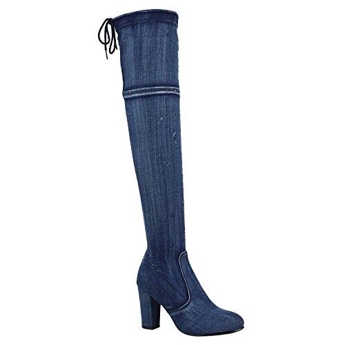 Denim Fashion Stiefel (Modische Damen Stiefel Profil Sohle Overknees Block Absatz Schuhe 150322 Blau Denim Schleifen 37 Flandell)