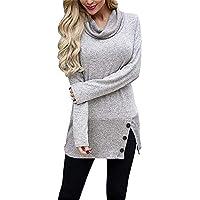 Hanomes Damen pullover, Damen Pullover Sweatshirt Lässige Langarm Button Cowl Neck Tunika Tops preisvergleich bei billige-tabletten.eu