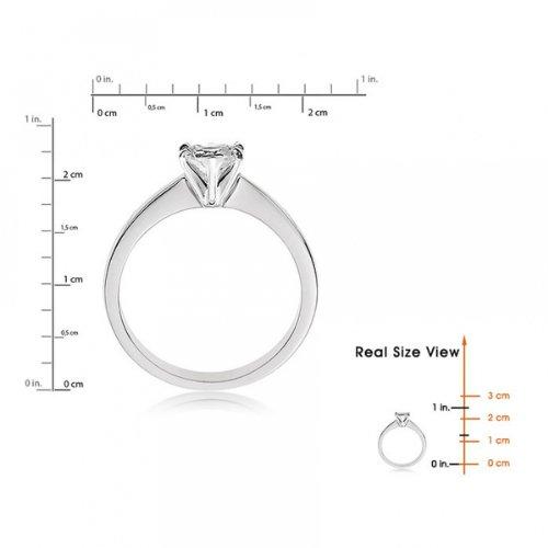 Diamond Manufacturers, Damen, Verlobungsring mit 0.41 Karat F/VS1 feinem und zertifiziertem Herzdiamant in Platin - 5