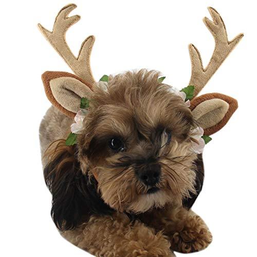 CHAGANA Haustier Haarschumuck Haarreif mit Ohren Weihnachten Stirnband Haarband Kopfband für Hund Katze (L)