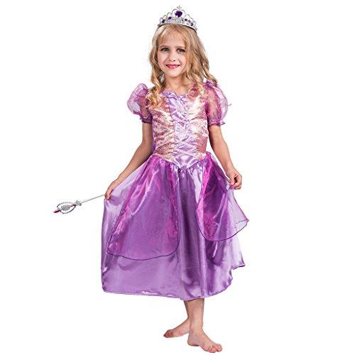 EraSpooky Mädchen Blasen Hülsen Prinzessin Partei Kostüm Abendkleid(Violett, Small)