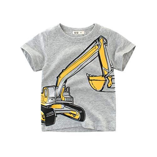 Boy Piraten Kleinkind Kostüm - Unisex Baby T-Shirt Baumwolle Süß Karikatur Tier Muster Tops für 1-7 Jahre Alt (2-3 Jahre, Grau Bagger)