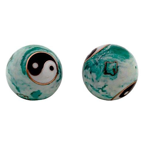 2 esferas Qi Gong Yin Yang de acero 4 cm blanco verde mármol medicina china puntos energéticos acupuntura caja de raso mecanismo sonoro