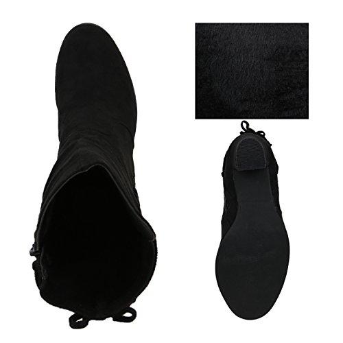 Klassische Stiefeletten Damen Schleifen Stiefel Wildlederoptik Schwarz