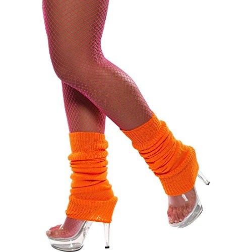 (R.H.Smith & Sons Orangene Bein Stulpen 80er Jahre Aerobic Beinwärmer Beinstulpen)