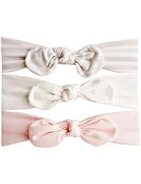 Gusspower 3 Pcs Diadema Bebe, Recién Nacido Bebé Niño Orejas de Conejo Arco Diadema Turbante Nudo Wraps para Niña Bautizo