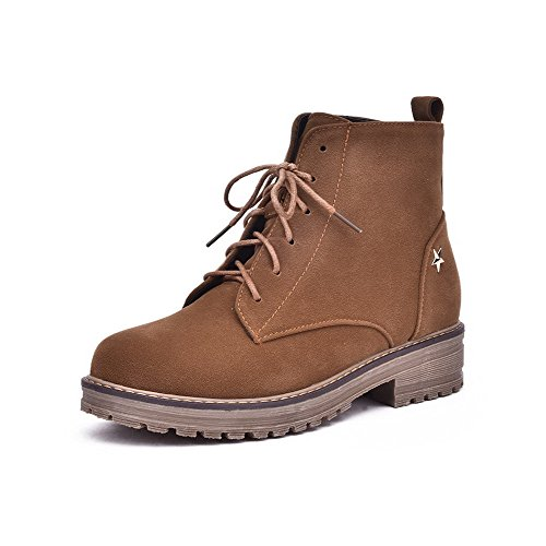 voguezone009-womens-frosted-round-closed-toe-solid-low-top-low-heels-boots-brown-38