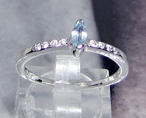 Anillo plata minimalista topacio azul diamante cz