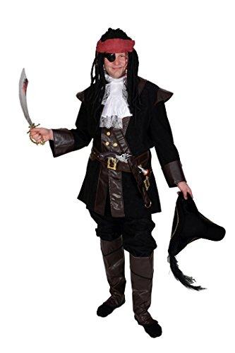 Piraten-Verkleidung schwarz-braun für Herren | Größe 56 | 7-teiliges Piraten-Kostüm | Faschingskostüm für (Männer Piraten Outfit)