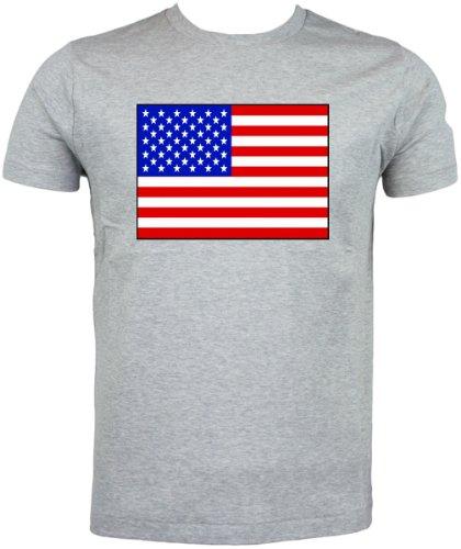 Maglietta, motivo: bandiera USA Grigio (grigio)