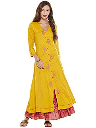 Varanga Women's A-Line Kurta (KFF-VAR21167_R18-S_Yellow_Small)
