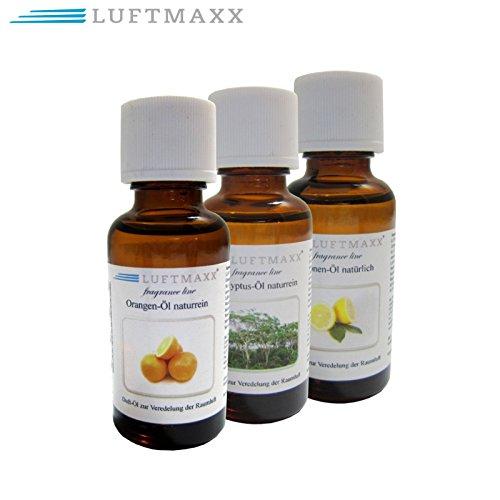 LUFTMAXX 3er Set Duftöl Zitrone Orange Eukalyptus je 30 ml für Staubsauger mit Wasserfilter Wasserstaubsauger und Lufterfirscher